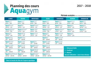 Planning des cours Aquagym - Période scolaire
