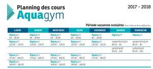 Planning cours Aquagym - Période vacances scolaires