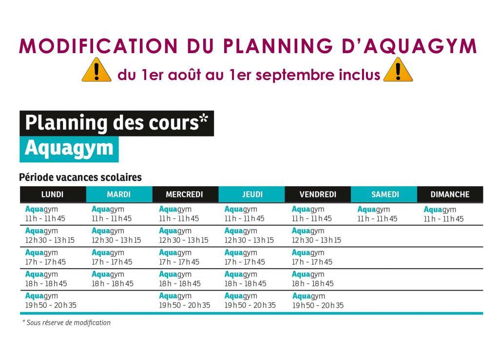 Planning des cours d'Aquagym août 2019